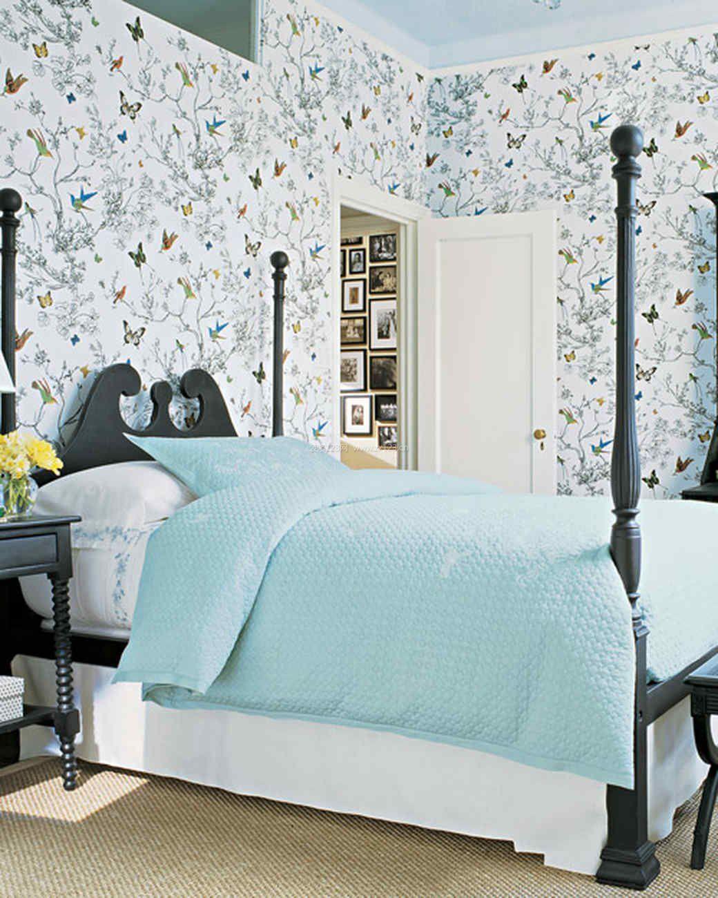 美式风格卧室墙纸装修贴图效果