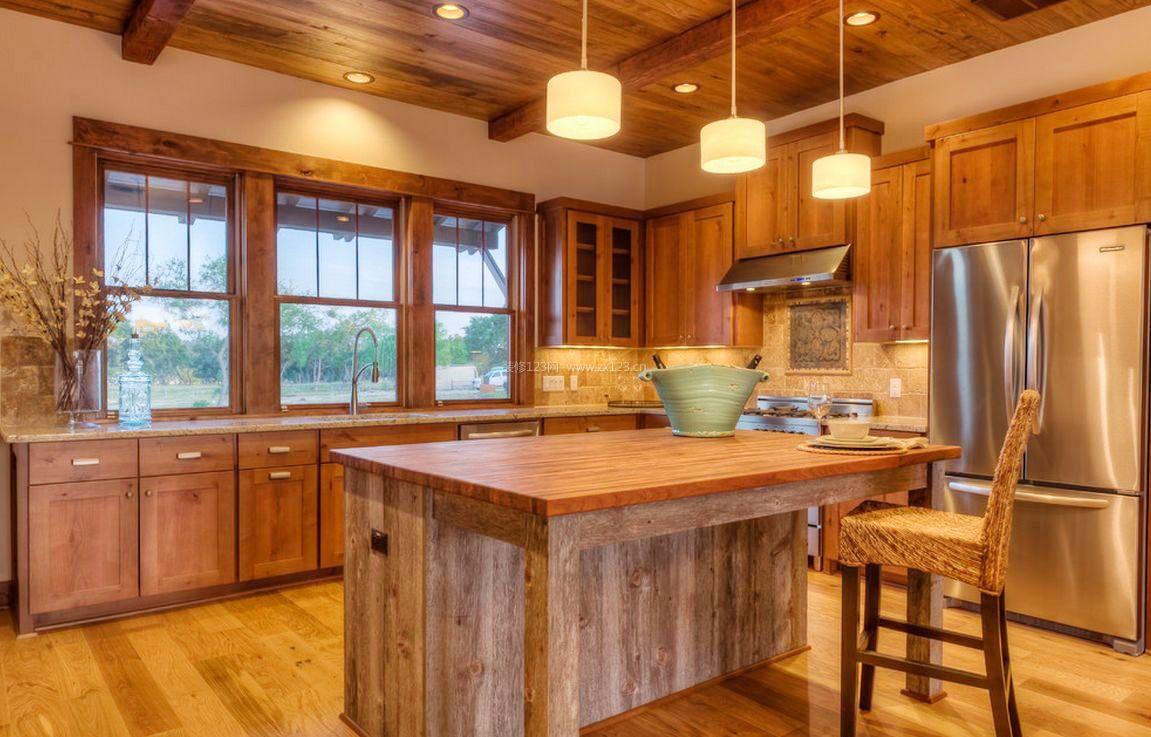 美式乡村风格厨房家装图片_装修123效果图