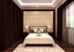 新中式风格卧室装修效果图 卧室整体衣柜效果图
