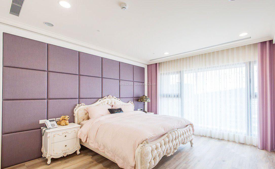 家装卧室硅藻泥背景墙_装修123效果图