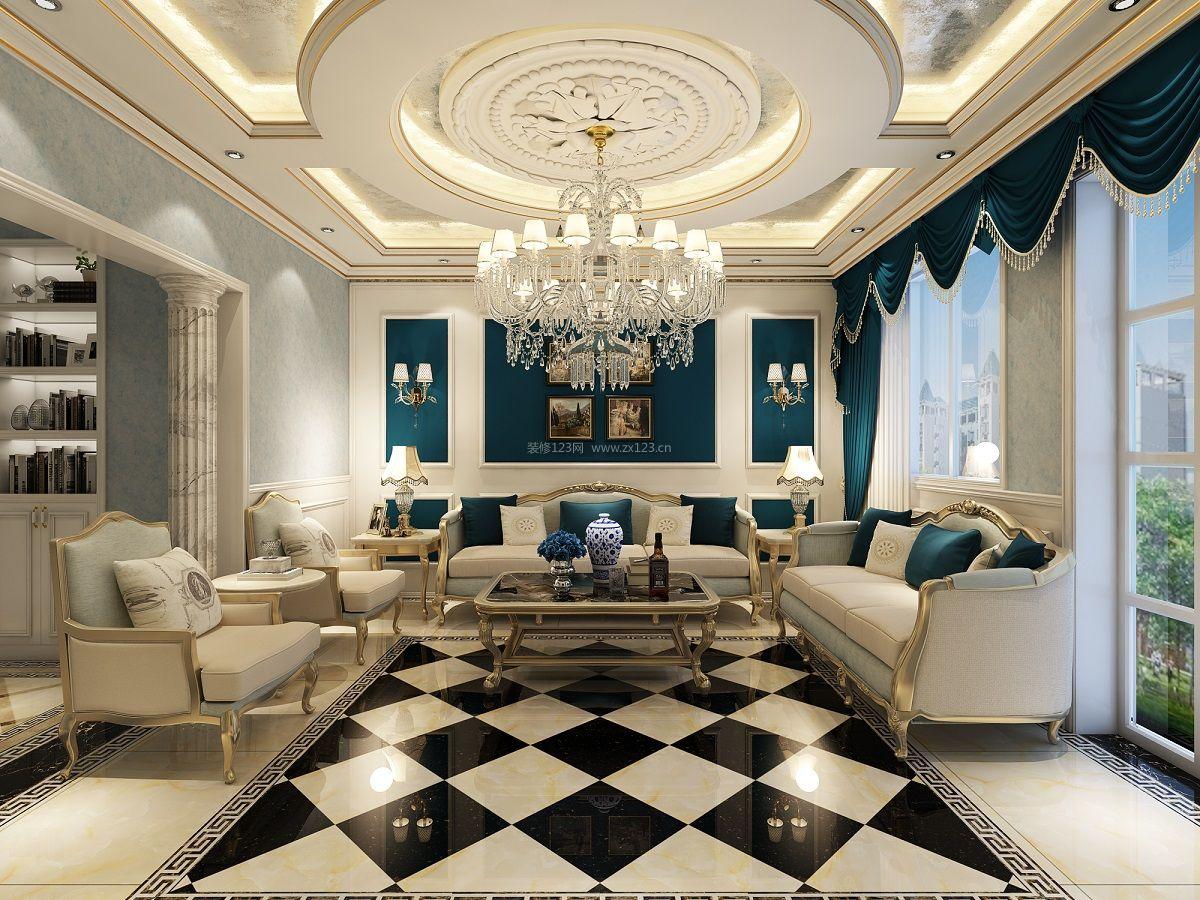 法式客厅沙发背景墙装修效果图欣赏
