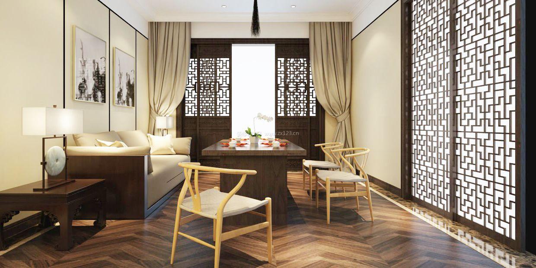 中式客厅餐厅窗帘图片