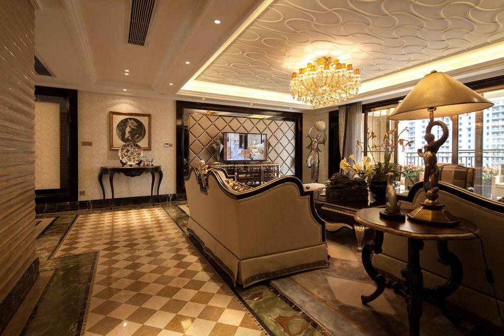 家装效果图 欧式 豪华欧式客厅吊顶装饰装修效果图 提供者:   ←图片