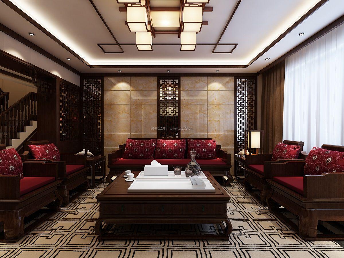 新中式水墨沙发背景墙设计图展示图片