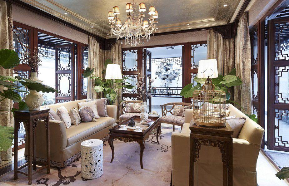 中式客厅茶室窗帘装修效果图大全