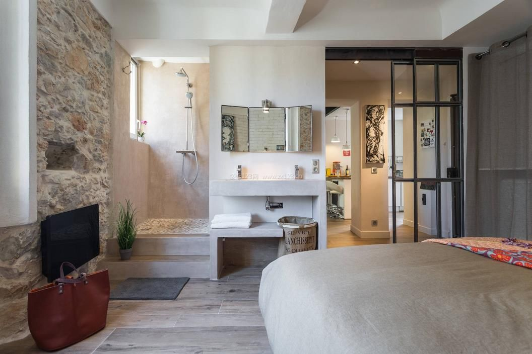 50平米小户型卧室带卫生间装修效果图