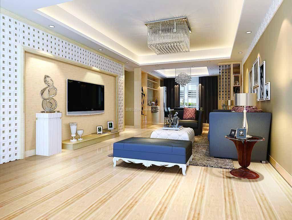 简约欧式客厅仿古砖装修效果图