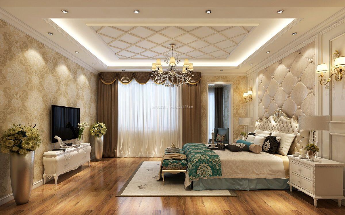 纯欧式卧室床头软包背景墙装修效果图图片