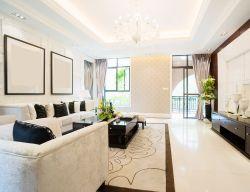 长方形客厅石膏线条吊顶效果图图片