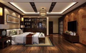 新中式风格卧室装修效果图 电视墙壁纸装修效果图