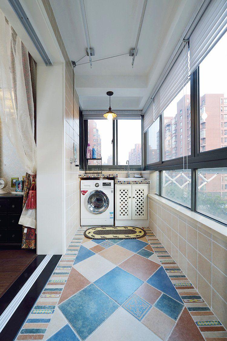 房子地中海风格生活阳台设计效果图