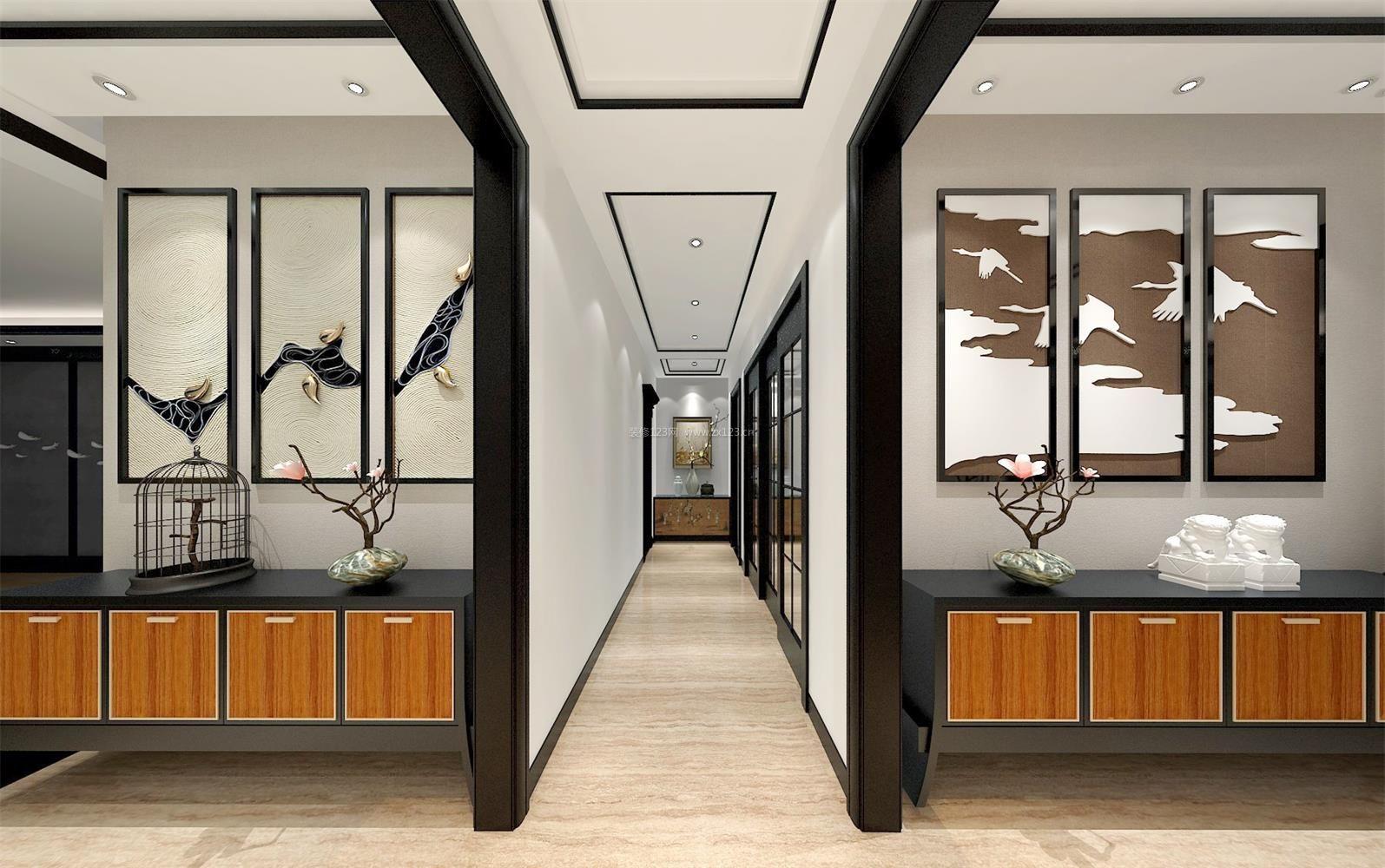 新中式设计元素走廊吊顶装修效果图