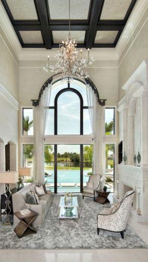 房子地中海风格 挑高客厅装修效果图