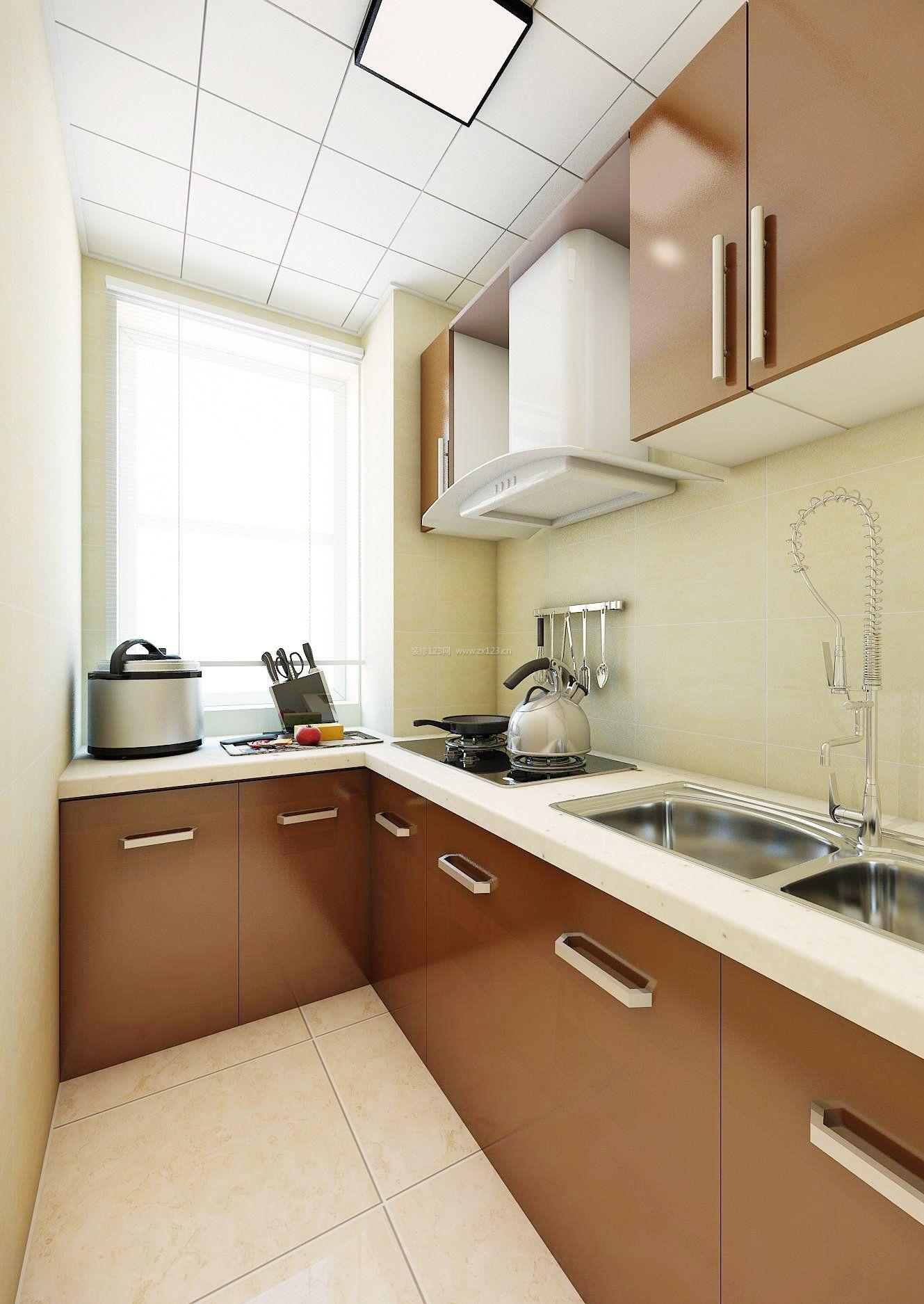 4平厨房咖啡色橱柜装修效果图片
