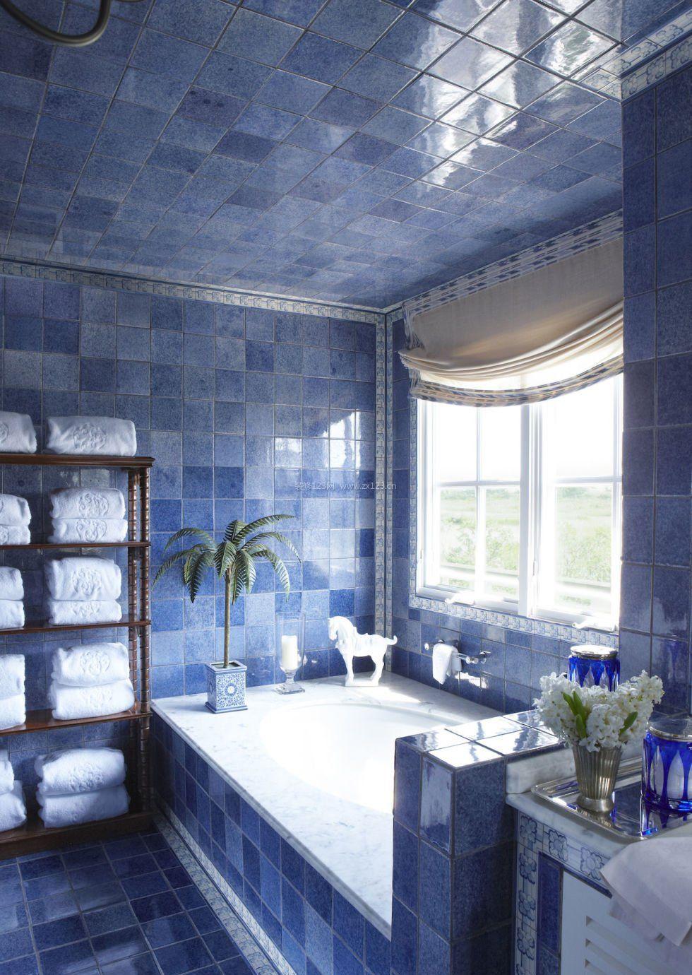 蓝色卫生间室内家装设计效果图2017_装修123印刷、喷绘制作工艺图片