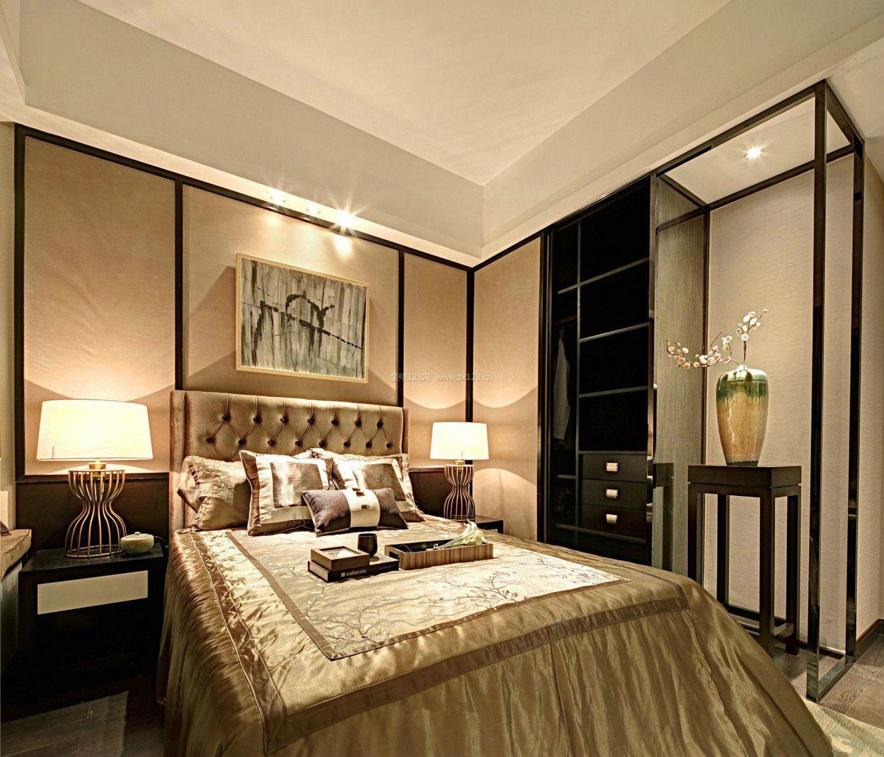 新中式卧室衣柜设计效果图_装修123效果图