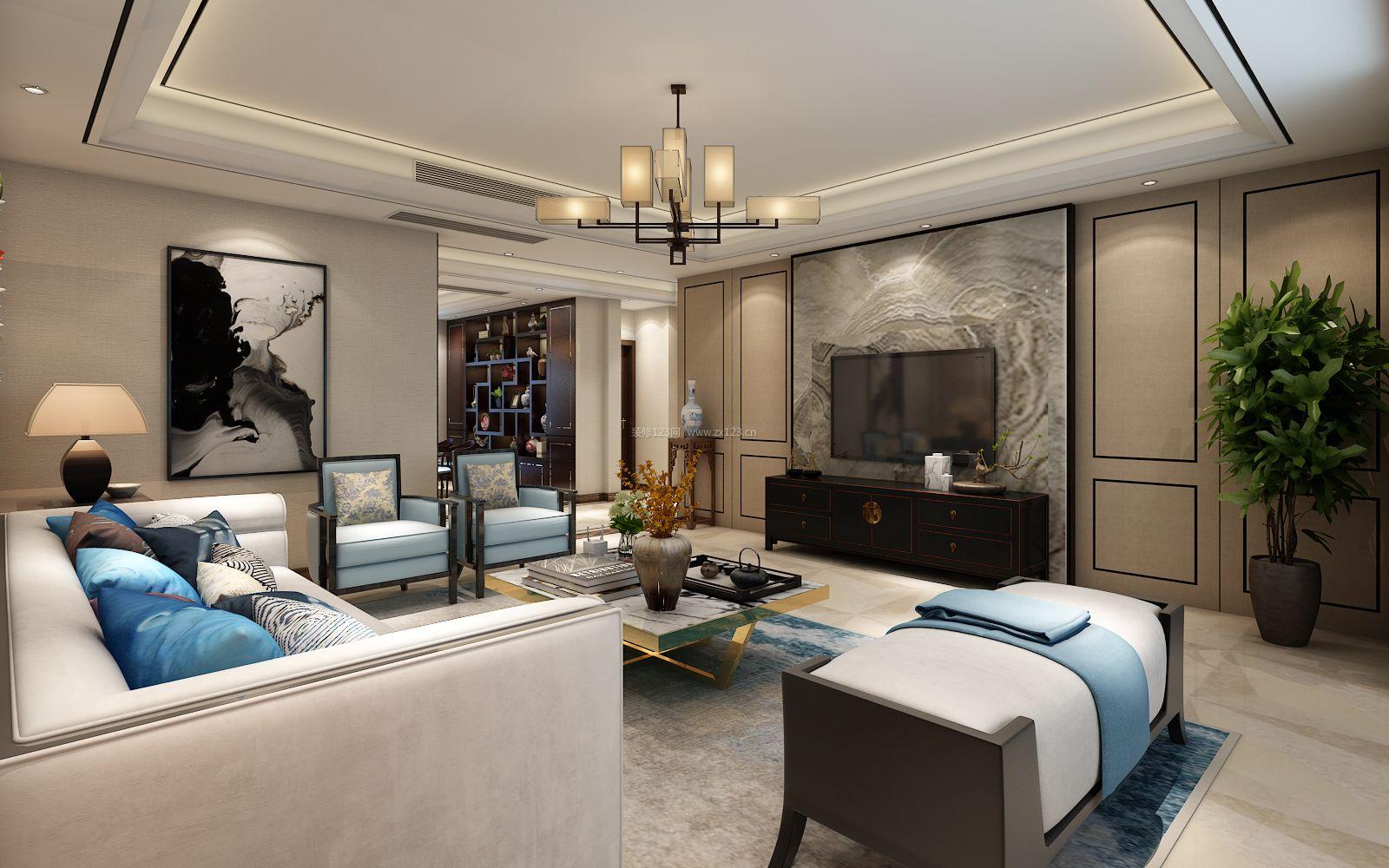 新中式家装客厅电视墙设计效果图大全图片