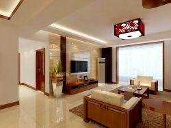 家装新中式风格瓷砖电视墙背景设计效果图图片