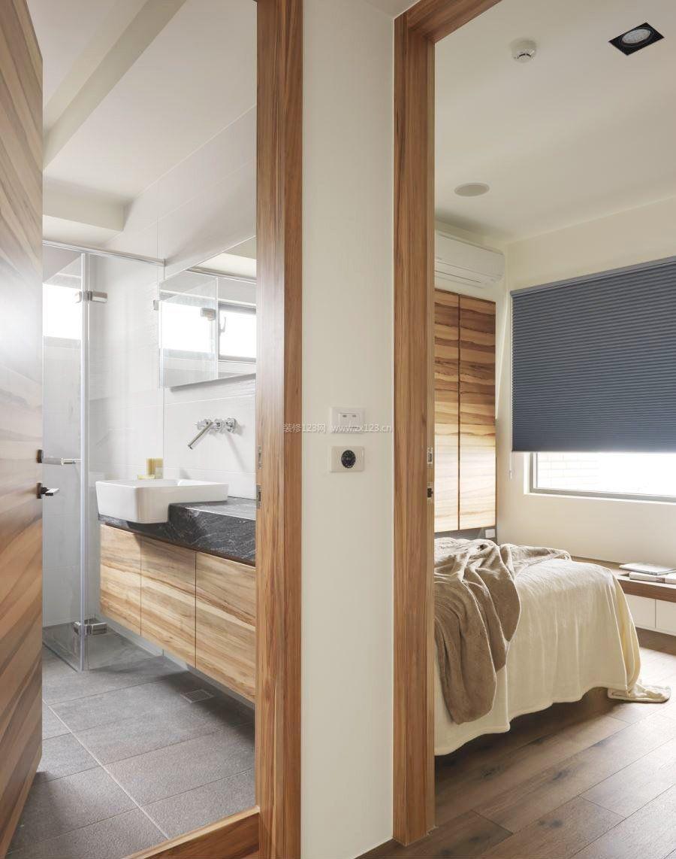 现代简约式风格卧室带卫生间装修效果图图片