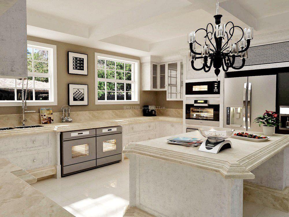 现代简欧式风格开放式厨房装修效果图