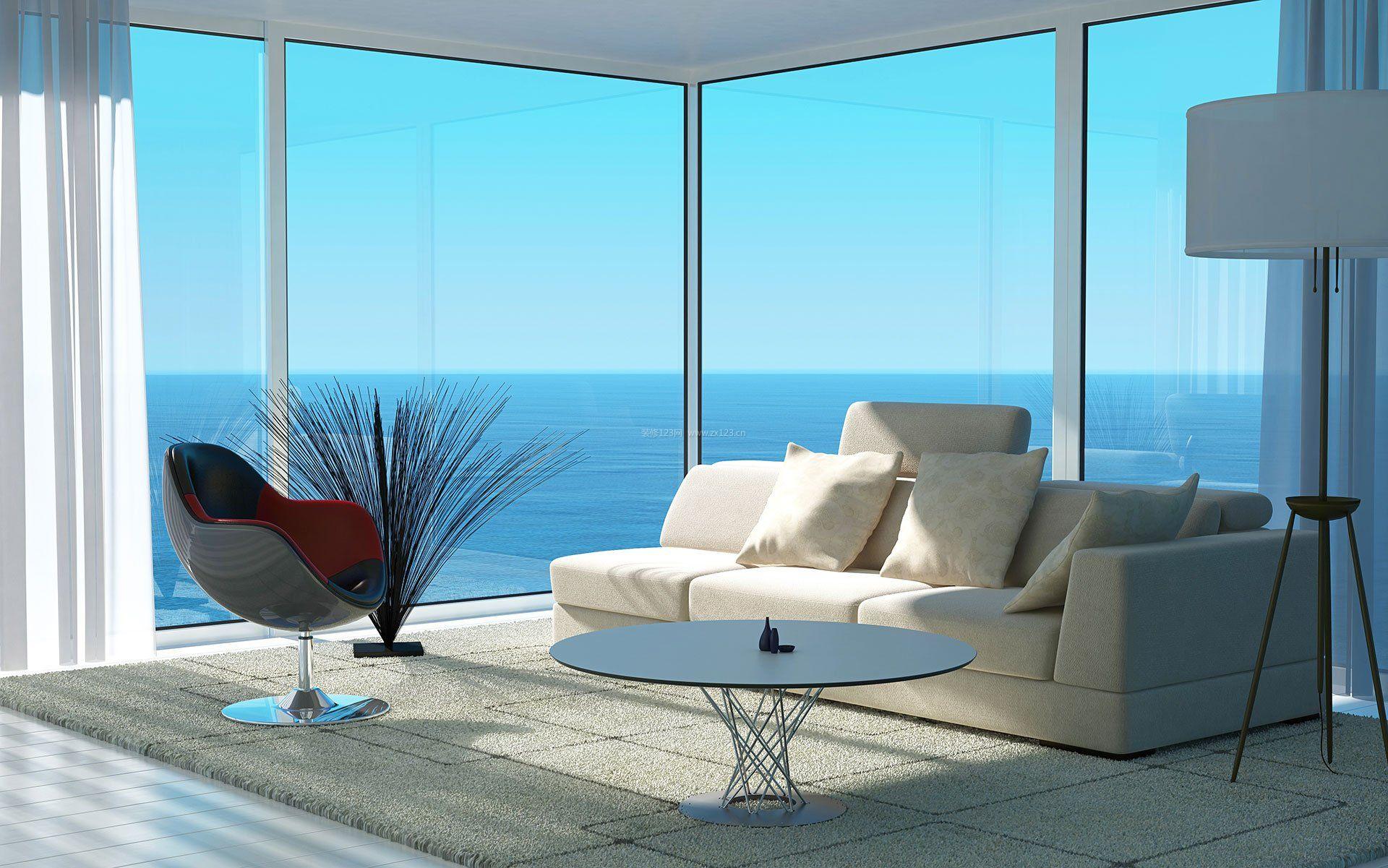海边别墅现代客厅简约图片