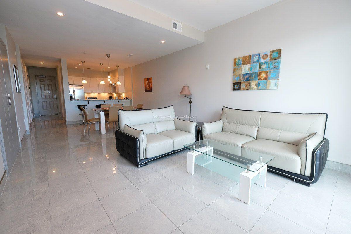 现代客厅简约米白色地砖装修效果图片欣赏