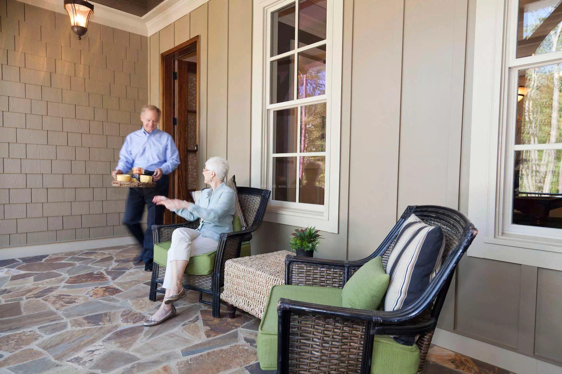 一层小别墅设计美式阳台瓷砖效果图_装修123效果图