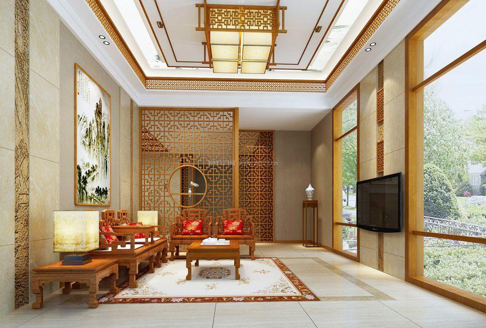 新中式风格玄关隔断家装装修效果图图片