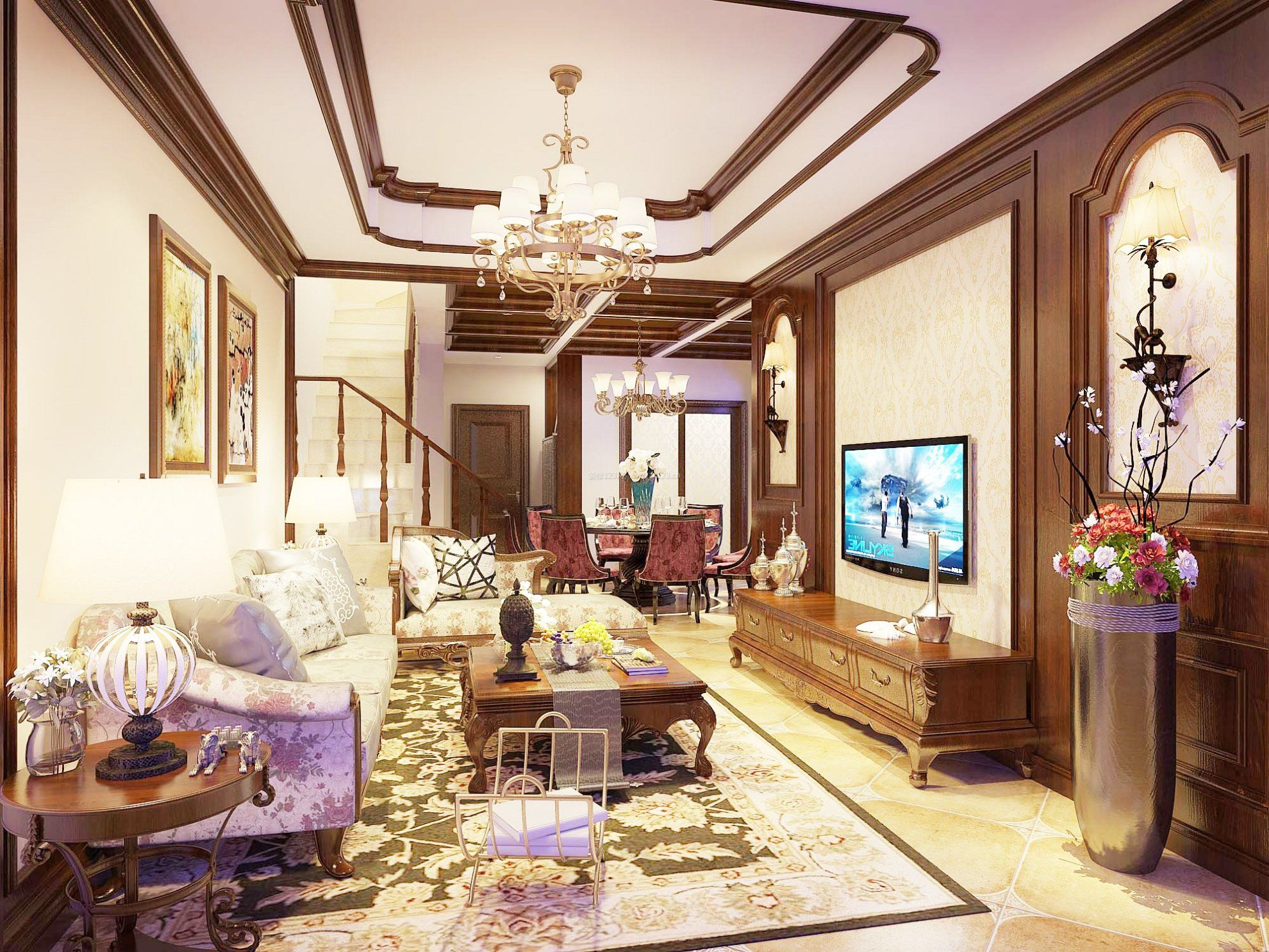 中式古典客厅家具装修效果图大全2017