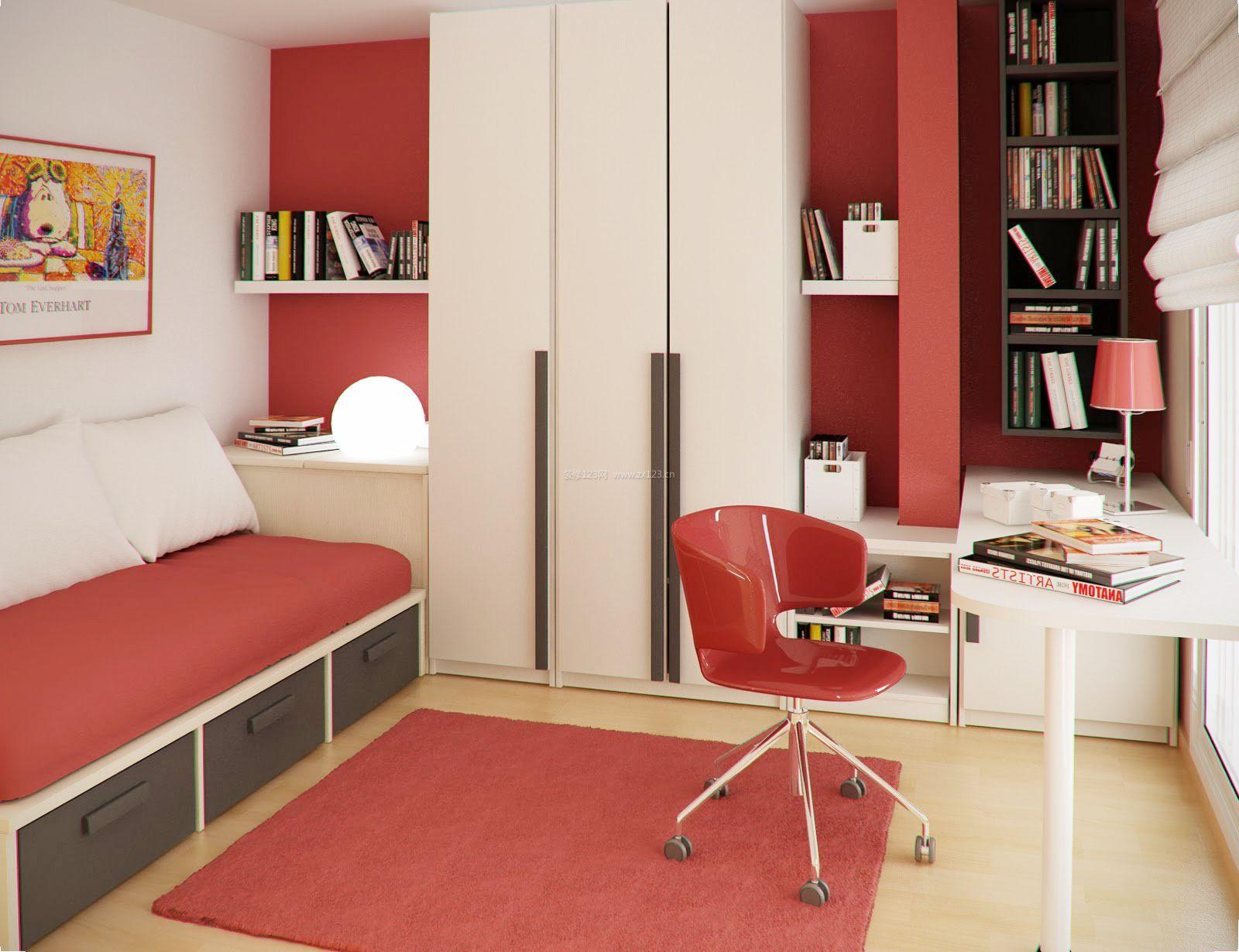 小卧室儿童房书桌衣柜一体设计图片