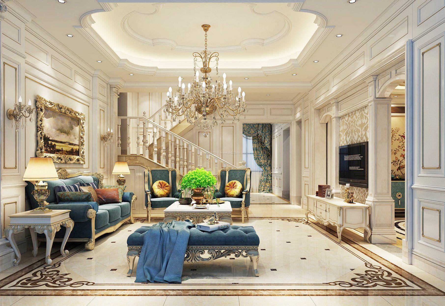 别墅欧式客厅装修效果图大全2017图片