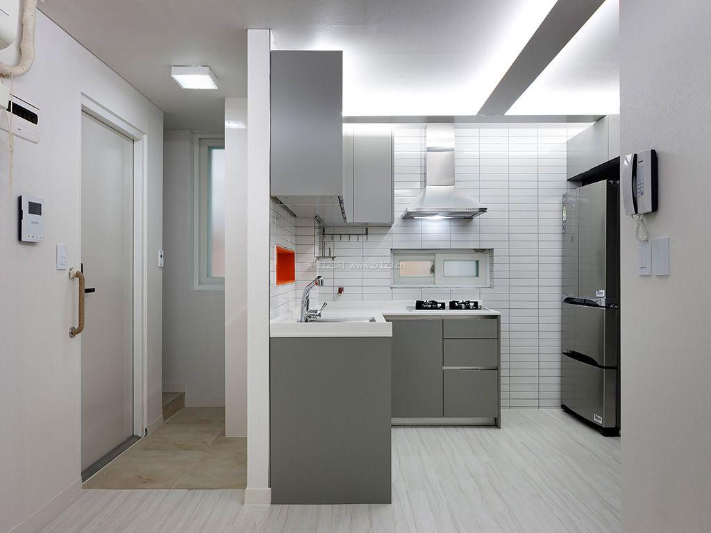 现代简约厨房风格白色瓷砖贴图装修实景