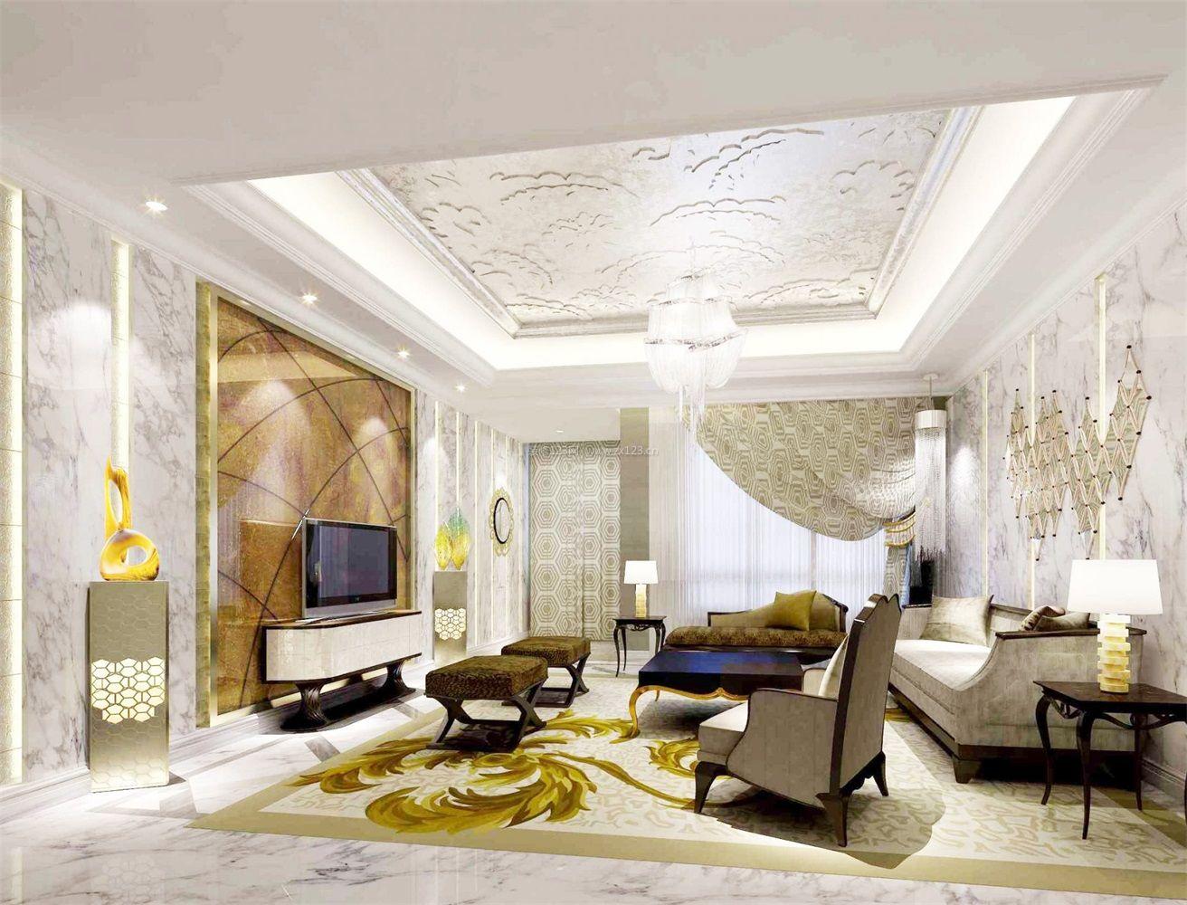 简约时尚欧式客厅吊顶装饰效果图_装修123效果图图片
