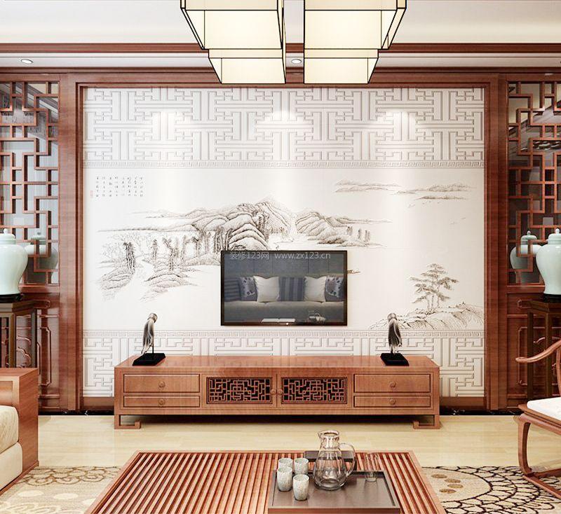 2017中式风格电视背景墙效果图图片