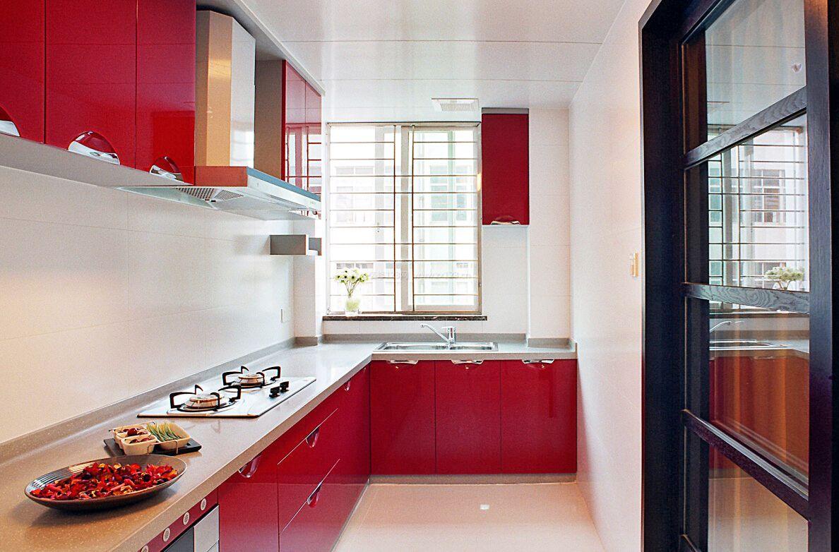 小厨房红色橱柜装修效果图大全2017图片图片
