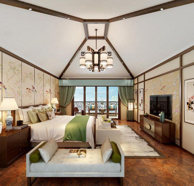 家装效果图 中式 新中式别墅卧室电视墙装修效果图 提供者:   ←
