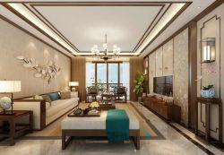 新中式客厅沙发背景墙装修效果图片欣赏2017图片