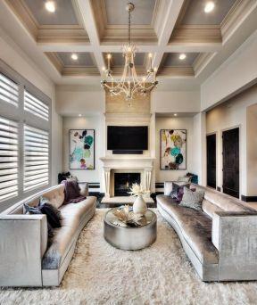 家庭客厅天花板装修设计效果图2017图片