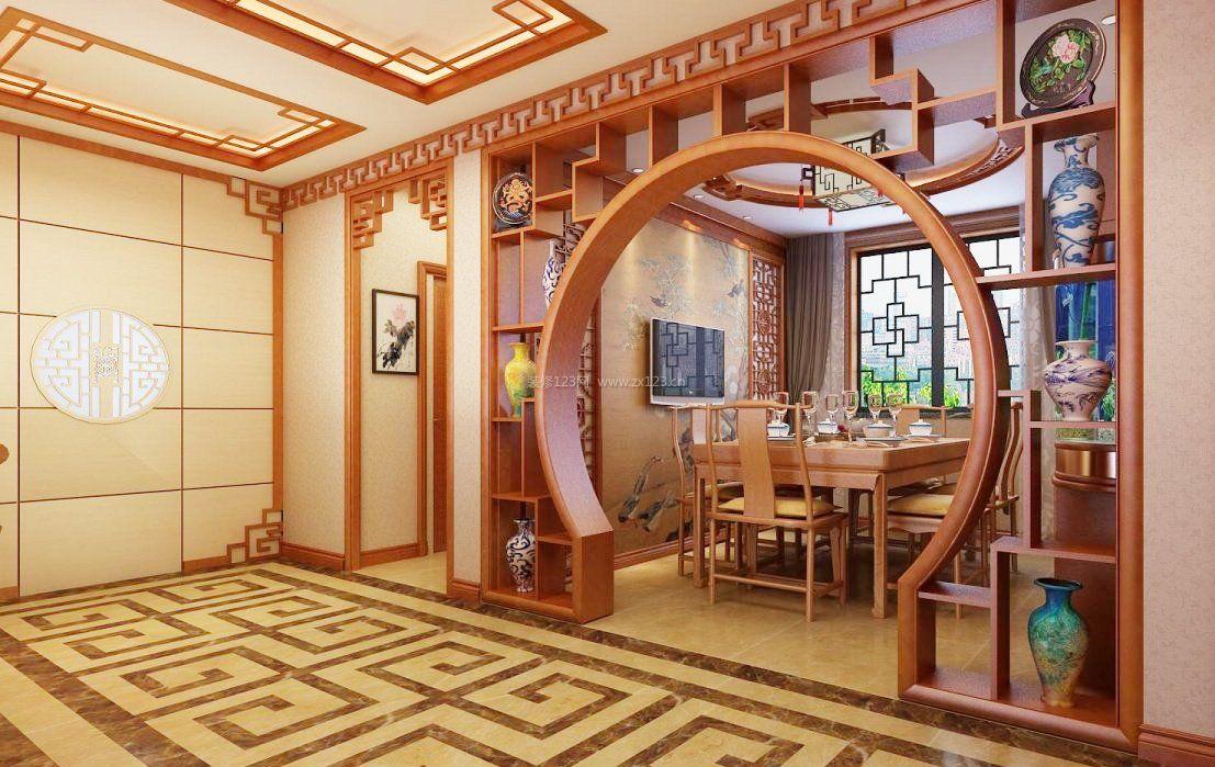 仿古中式拱形门洞玄关博古架装修效果图