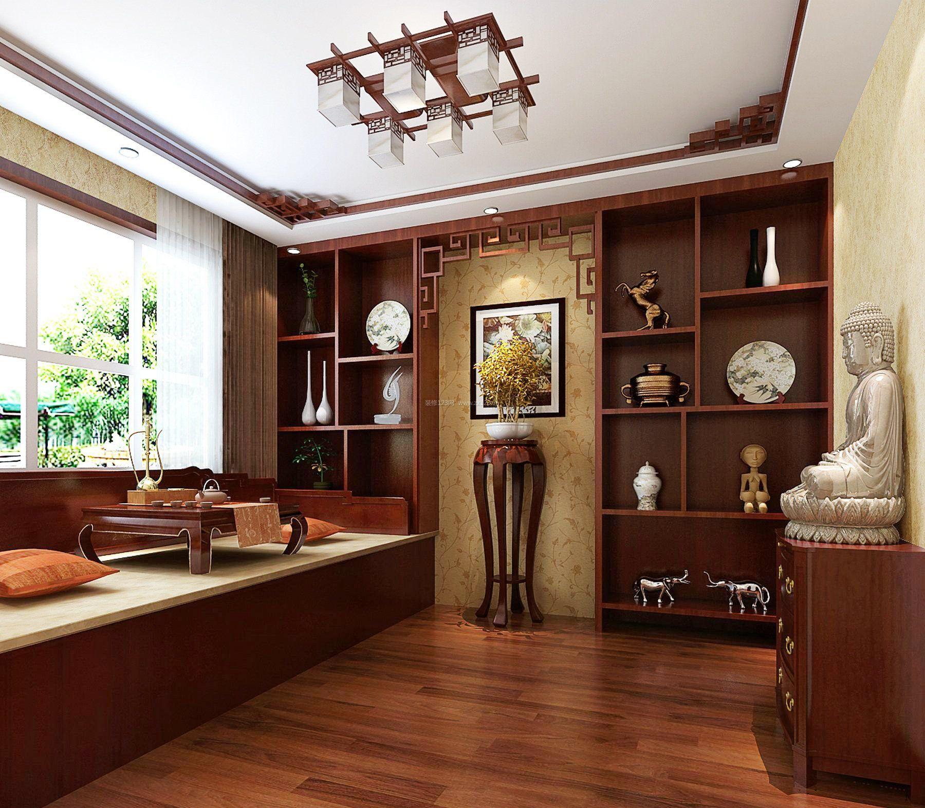 仿古中式风格茶室博古架装修效果图图片
