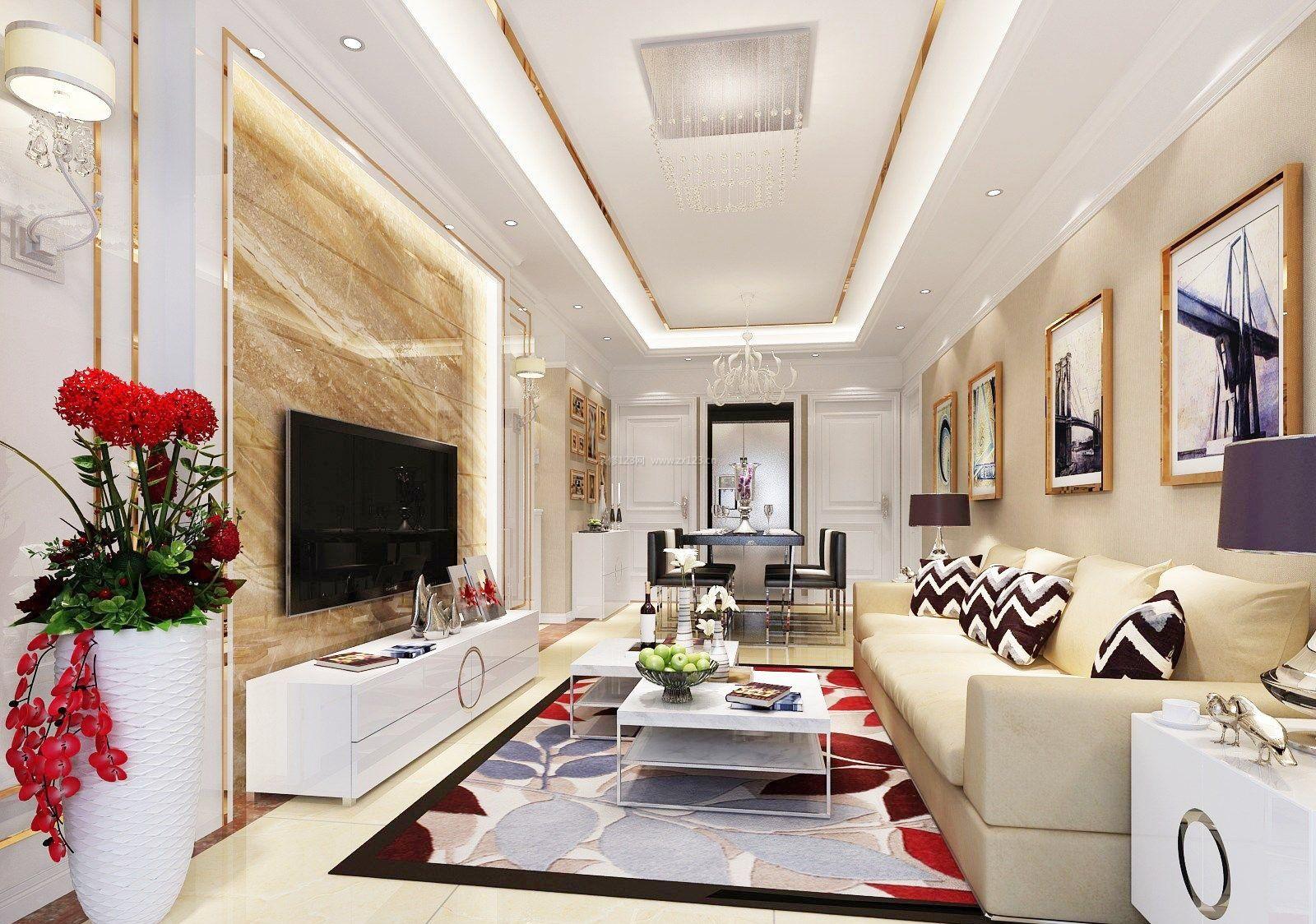 95平米房屋长方形客厅装修效果图片