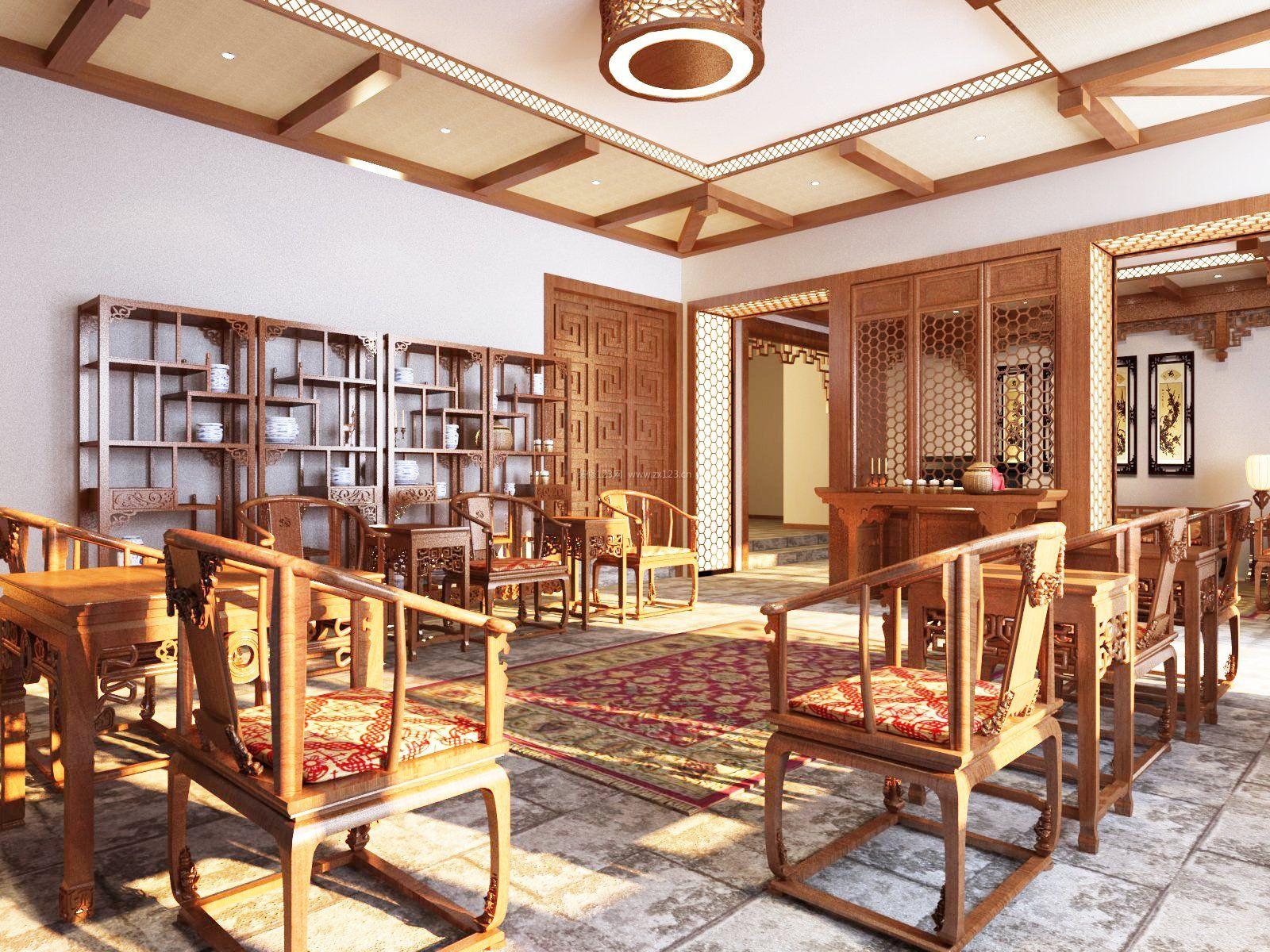 仿古中式大客厅博古架装修效果图