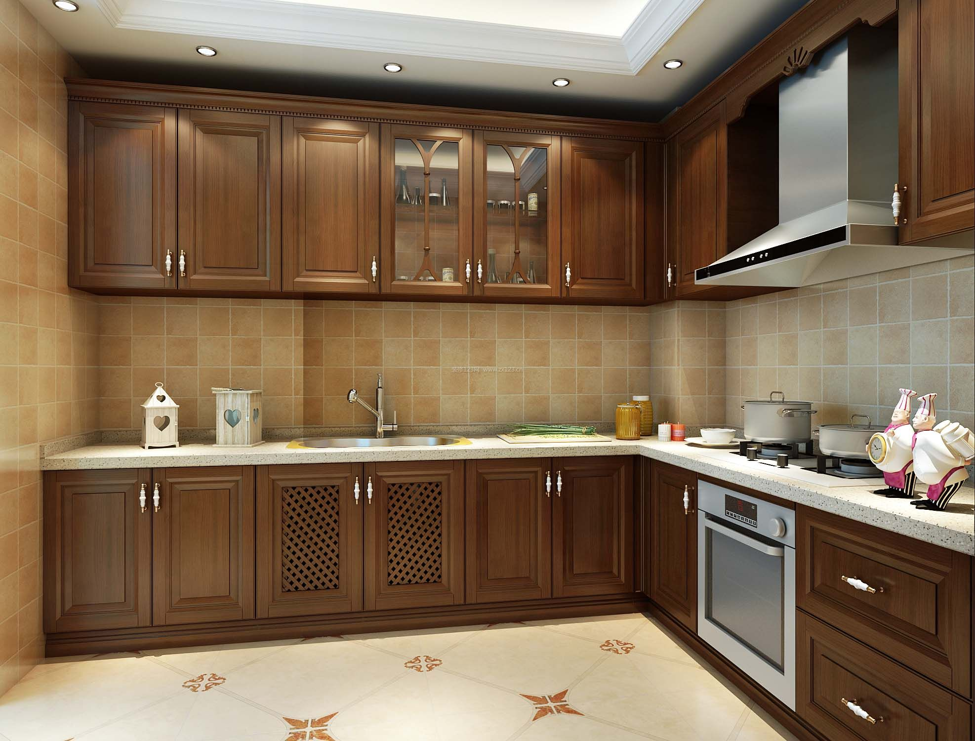 欧式别墅厨房实木整体橱柜装修效果图片_装修123效果图