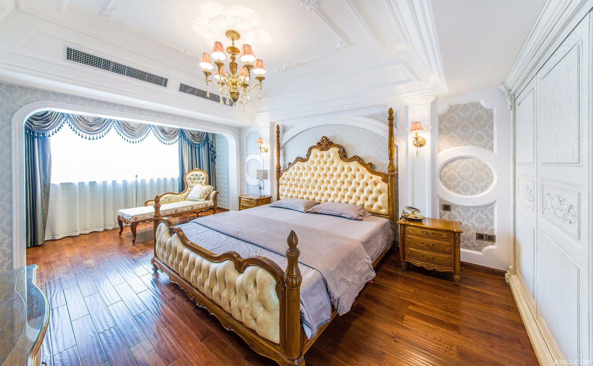 别墅室内欧式卧室床头背景墙_装修123效果图