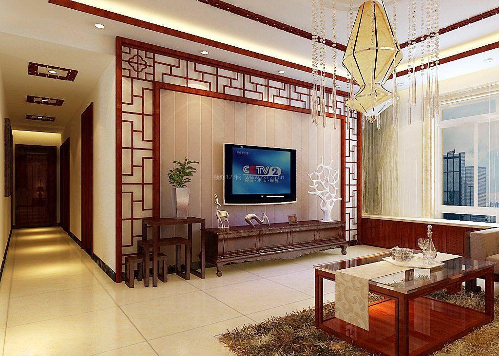 新中式风格装饰元素电视墙造型设计图片
