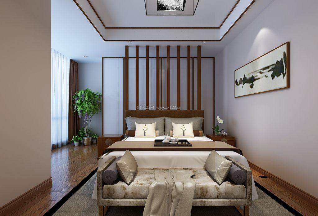 2017简约中式卧室床尾凳装修设计效果图片图片