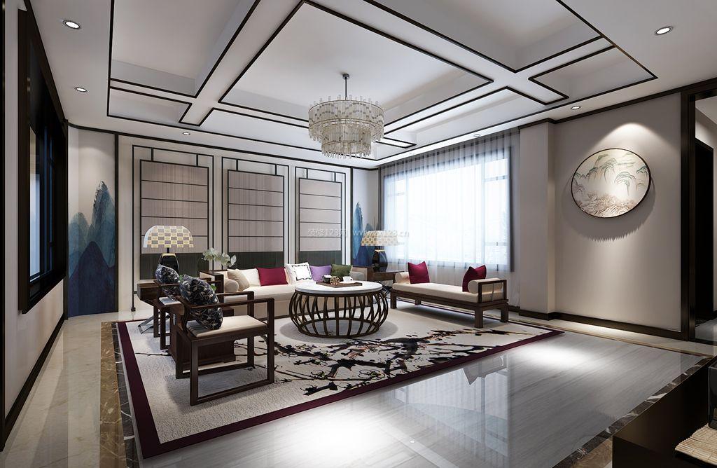 新中式风格客厅沙发背景墙装修效果图片欣赏图片