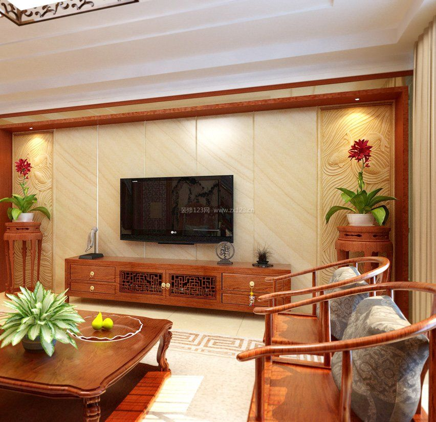 新中式风格装饰元素客厅实木电视柜图片大全图片