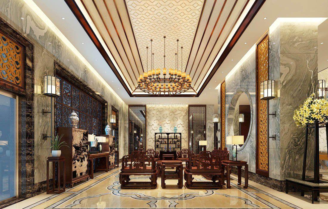 新中式风格装饰元素客厅实木家具摆放效果图