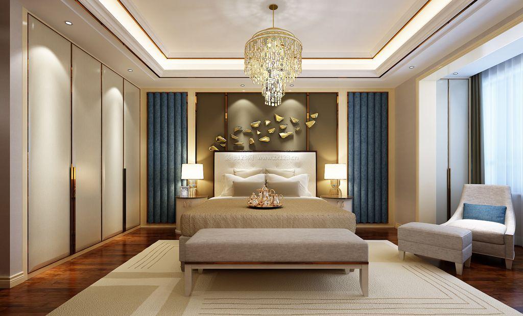 现代港式别墅卧室床头背景墙装修效果图图片